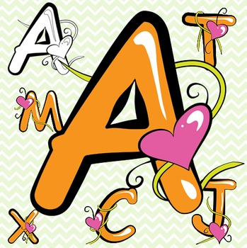 Orange Alphabet Letters Clip Art - Valentine's Day!