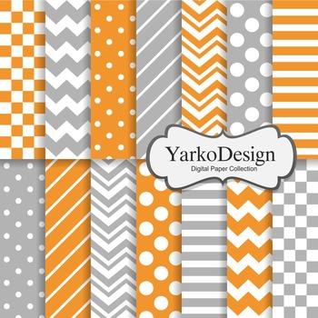Orange And Grey Basic Geometric Digital Paper Set, 14 Digital Paper Sheets