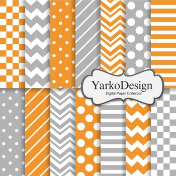 Orange And Grey Basic Geometric Digital Paper Set, 14 Digi