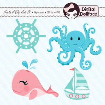 Orange, Aqua, Blue Sea Clipart / Nautical Whale, Octopus & Lighthouse Clip Art