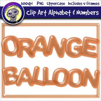 Orange Balloon Clip Art Alphabet Letters & Frames