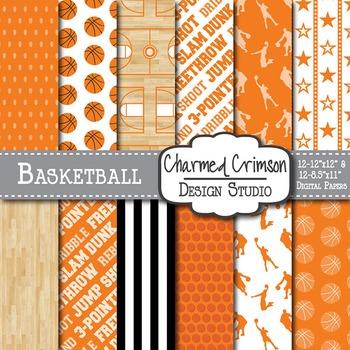 Orange Basketball Digital Paper 1293