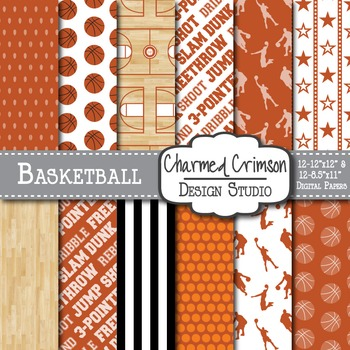 Orange Basketball Digital Paper 1312
