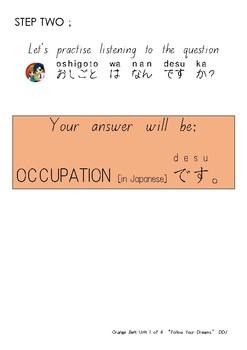 Orange Belt Unit 1 of 4 [Follow Your Dreams] Qs+Occupation [no romaji]