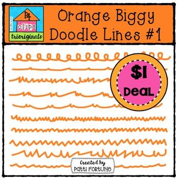Orange Biggy Doodle Lines #1 {P4 Clips Trioriginals Digital Clip Art}