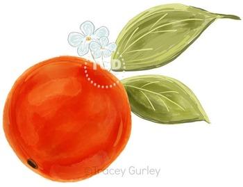 Orange Blossom Fruit, orange blossom clip art, Printable Tracey Gurley Designs