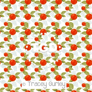 Orange Blossom Pattern Repeat on White  digital paper Printable Tracey Gurley