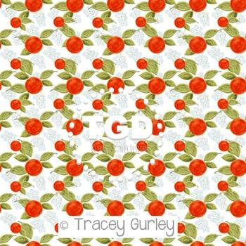 Orange Blossom Pattern Repeat on White  digital paper Prin