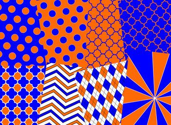 Orange & Blue Digital Papers (University of Florida Team Colors)