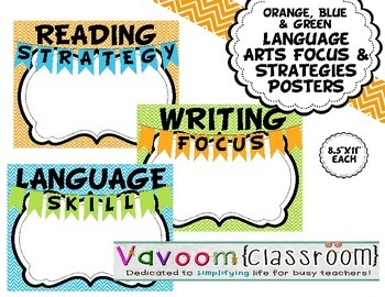 Orange, Blue, & Green Chevron Language Arts Focus and Strategies Posters
