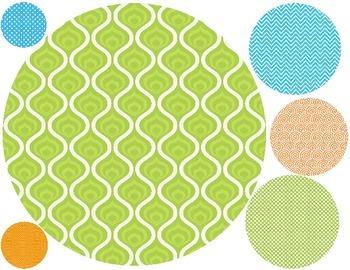 Orange, Blue, & Green Patterned Printable Dots