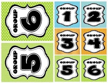 Orange, Blue, & Green Printable Name Plates & Group Labels