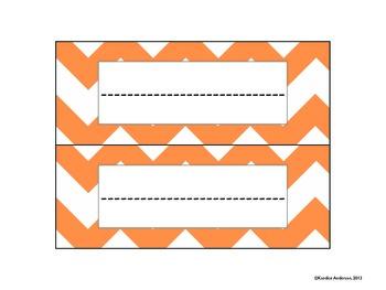 Orange & Blue Plain Chevron Name Plates