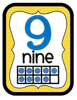 Orange Blue & Yellow Number Charts Posters~Numerals, Number Words, & 10s Frames