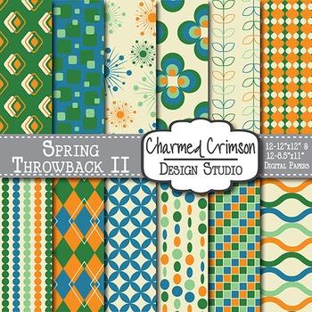 Orange, Blue, and Green Retro Digital Paper 1204