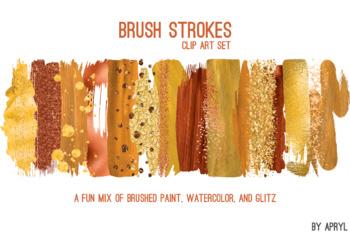 Orange Brush Strokes Paint Glitter Foil Watercolor 20 PNG Clip Art 12in CU S9