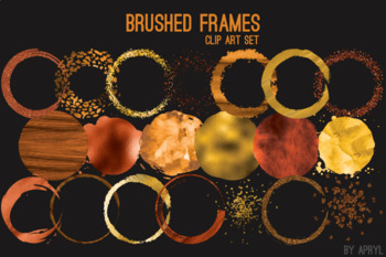 Orange Brushed Round Frames Paint Glitter Watercolor 20 PNG Clip Art 8in S9