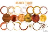 Orange Brushed Round Frames Paint Glitter Watercolor 20 PN