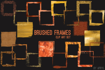 Orange Brushed Square Frames Paint Glitter Watercolor 20 PNG Clip Art 8in S9