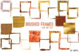 Orange Brushed Square Frames Paint Glitter Watercolor 20 P
