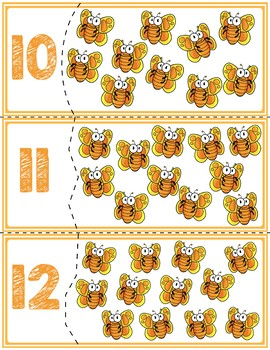 Orange Butterfly Self Correcting Quantity Puzzles | Numbers 1-12