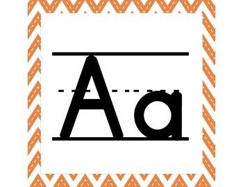 Orange Chevron ABC Word Wall Letters