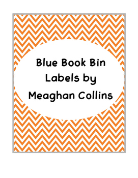 Orange Chevron Book Bin Labels