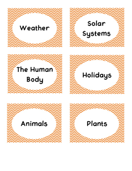 Orange Chevron Book Bin Labels