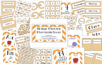 Orange Chevron Classroom Decor