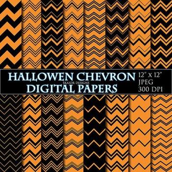 Halloween Digital Papers Orange Chevron Papers Zigzag Scrapbooking Printable
