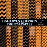 Halloween Digital Papers Orange Chevron Papers Zigzag Scra
