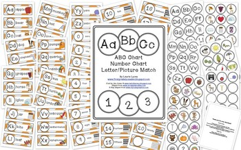 Orange Chevron Letter and Number Cards