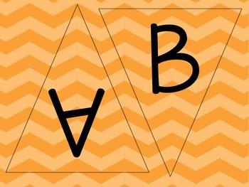 Orange Chevron Letters - Chevron Pennants - Chevron Word Wal