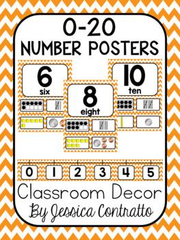 Orange Chevron Number Posters 0-20