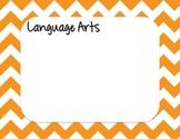 Orange Chevron Strips Daily Learning Agenda