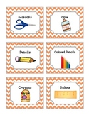 52 Orange Chevron Supplies Labels