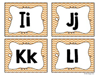 Orange Chevron Word Wall Alphabet Headers