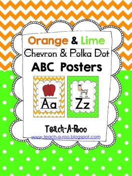Orange Chevron and Lime Polka Dot ABC Chart