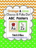 Orange Chevron and Lime Polka Dot ABC Chart