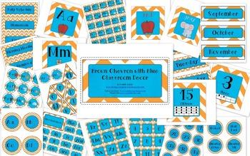 Orange Chevron with Blue Classroom Decor