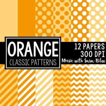 Orange Classic Designs- 12 Digital Papers