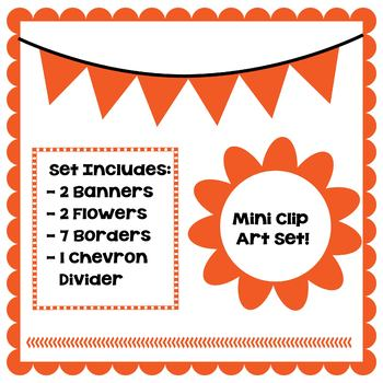 Orange Clip Art Set - Borders, Frames, Banners & Page Divider