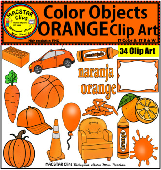 Orange Color Objects Clip Art English Spanish Personal And