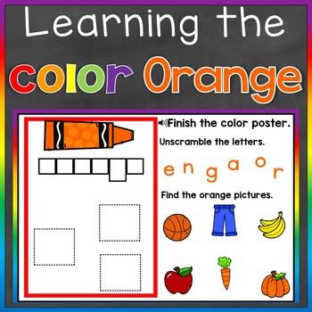 Orange Color Recognition Color Word Boom Cards (Learning Colors - Orange)