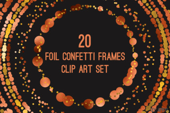 Orange Confetti Round Frames 20 PNG Clip Art 8in Foil Metallic S9
