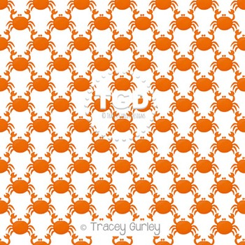 Orange Crab Pattern Repeat on White digital paper Printable Tracey Gurley