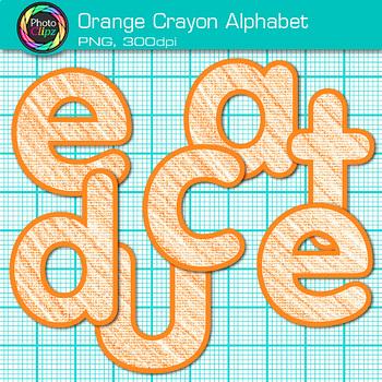 Orange Crayon Alphabet Clip Art {Great for Classroom Decor & Resources}