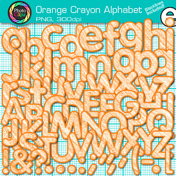 Orange Crayon Alphabet Clip Art {Great for Classroom Decor