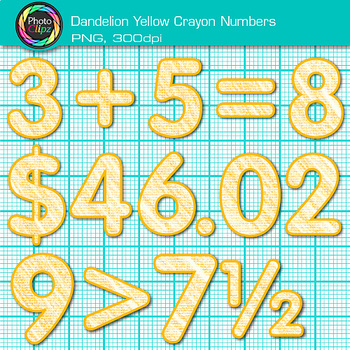 Dandelion Yellow Math Numbers Clip Art {Great for Classroom Decor & Resources}