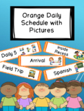 Orange Daily Schedule with Visual Pictures